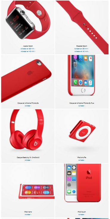 Produits Apple RED SIDA