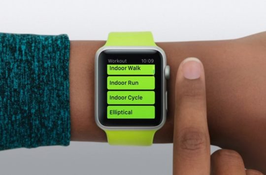 menu exercice apple watch