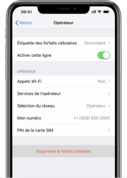 Suppression du forfait de l'eSIM de l'iPhone