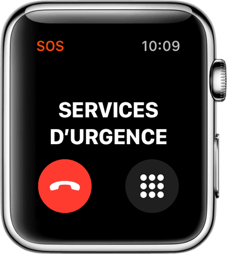 Appel en cours des services d'urgence suite à la détection de chutes de l'Apple Watch Series 4