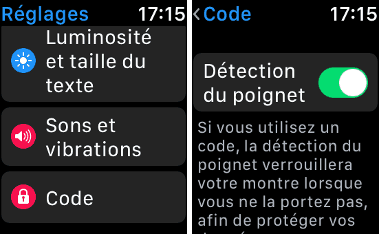 Activation de la détection du poignet