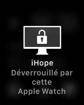 Notification de l'Apple Watch qui déverrouille un Mac