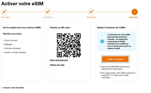 Valider l'activation de l'eSIM chez Orange