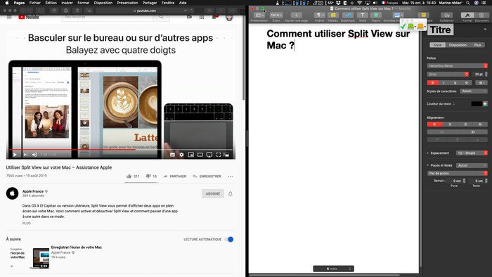 Split View sur Mac