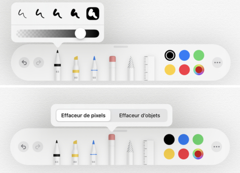 La palette dans Notes avec un Apple Pencil sur un iPad
