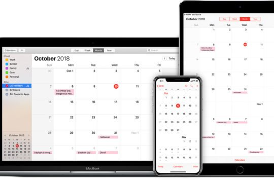 calendrier iphone mac ipad