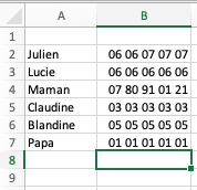 exemple contacts excel