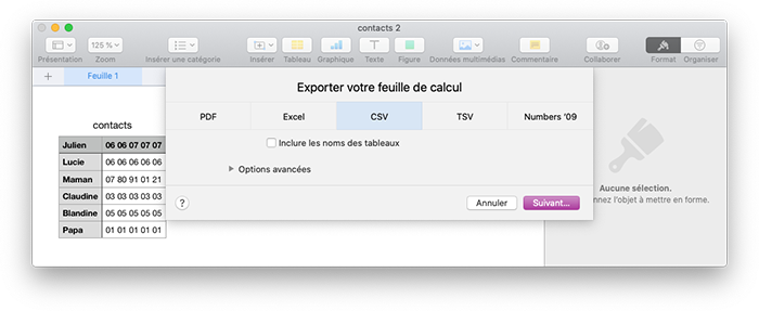 numbers export csv
