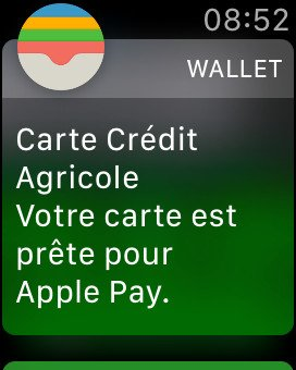 apple watch notification ajout carte apple pay