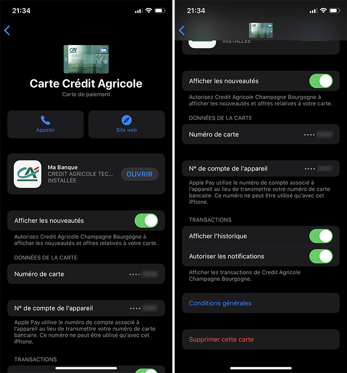 iphone menu carte apple pay historique transaction active
