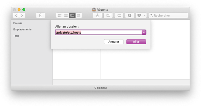 mac finder aller au fichier hosts