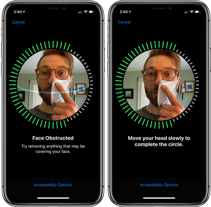 iphone configuration face id masque