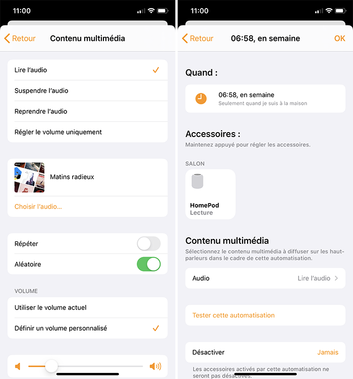 iphone automatisation alarme homepod