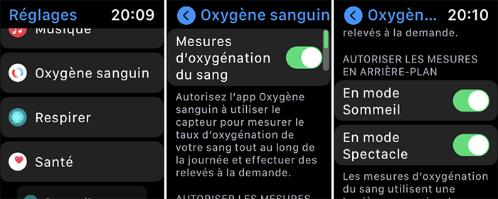 apple watch reglages oxygene sanguin
