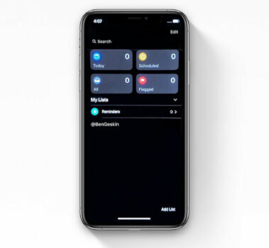 iphone note sombre